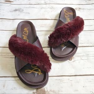 Sam Edelman Bianca fur slides! NEW